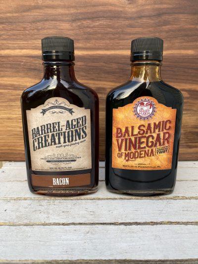 bacon maple, bourbon balsamic vinegar, barrel aged sauce gift set, barrel aged creations