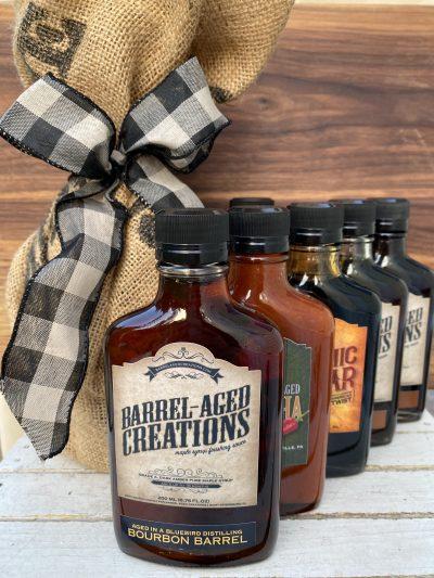barrel aged sauce gift set, barrel aged creations