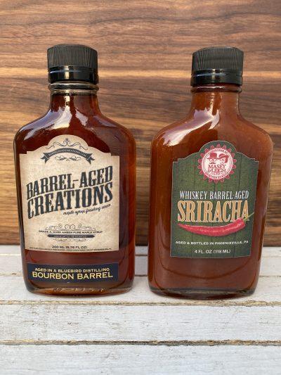 boubon maple, whiskey sriracha, barrel aged sauce gift set, barrel aged creations