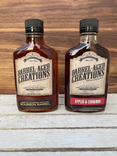 bourbon maple, apple cinnamon mapl, barrel aged sauce gift set, barrel aged creations