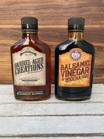 bourbon maple, bourbon balsamic vinegar, barrel aged sauce gift set, barrel aged creations