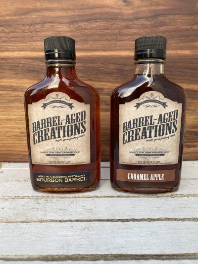 bourbon maple, caramel apple mapl, barrel aged sauce gift set, barrel aged creations