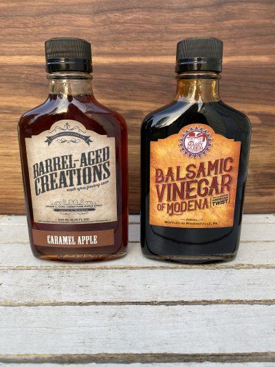 caramel apple maple, bourbon balsamic vinegar, barrel aged sauce gift set, barrel aged creations