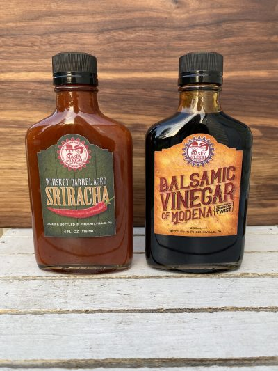 whiskey sriracha, bourbon balsamic vinegar, barrel aged sauce gift set, barrel aged creations